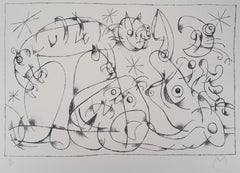 King Ubu XI : Cat Looking at the Moon - Original lithograph, Handsigned & N°