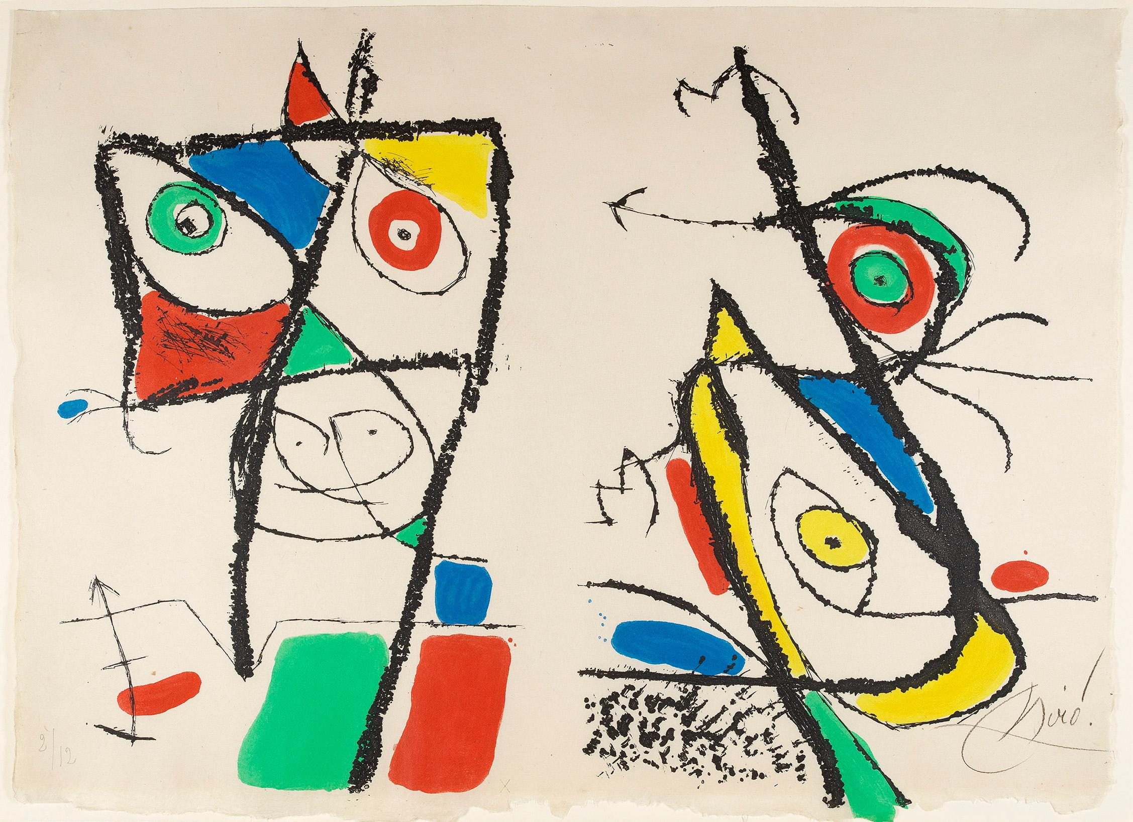 Le Courtisan Grotesque: Plate X - Joan Miró, Etching, Aquatint, Abstract prints