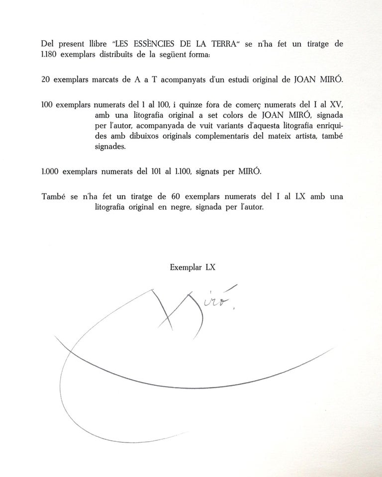 Les Essencies de la Tierra, Lithograph by Joan Miró 1968 3