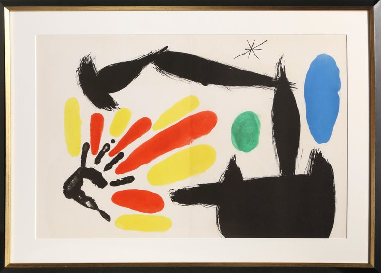 """Artist: Joan Miro, Spanish (1893 - 1983) Title: Les Essencies de la Tierra Year: 1968 Medium: Lithograph on Guarro Edition: LX (60) Size: 19.25  x 30.5 in. (48.9  x 77.47 cm) Frame Size: 25.5 x 36 inches  Reference: no. 123 in Cramer """"The"""