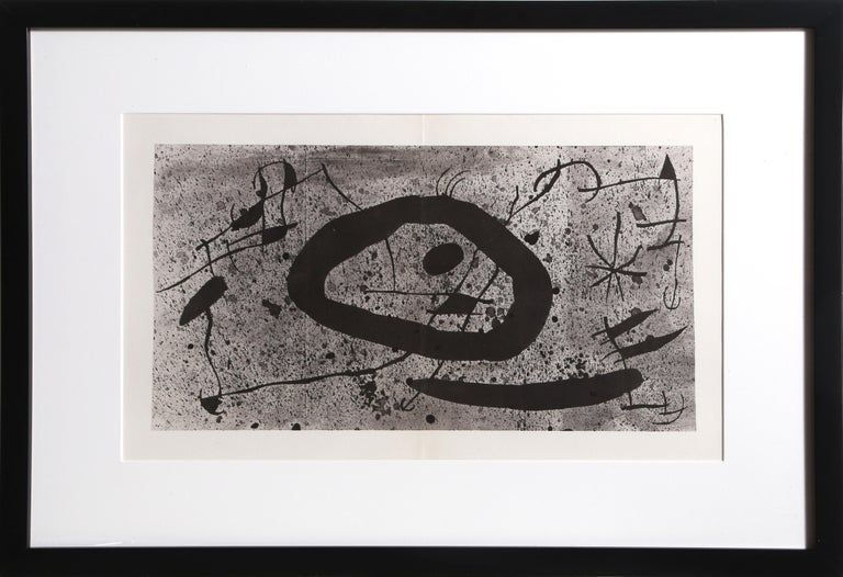 "Artist: Joan Miro, Spanish (1893 - 1983) Title: Les Essencies de la Tierra Year: 1968 Medium: Lithograph on Guarro Edition: LX (60) Size: 19.25  x 30.5 in. (48.9  x 77.47 cm) Frame Size: 21.5 x 31.5 inches  Reference: no. 123 in Cramer ""The"