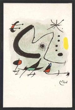 Letter M - Original Photolithograph by Joan Mirò - 1972