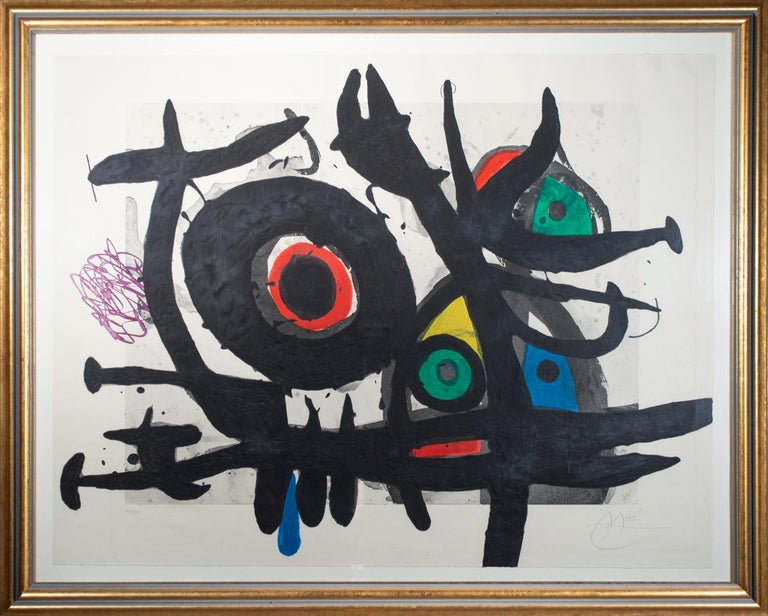 'l'Oiseau Destructeur' original etching signed by the famed Surrealist painter and printmaker Joan Miró. By the 1960s, Miró was at the height of his career as an artist, and prints like this one show his prowess and confidence. The composition is