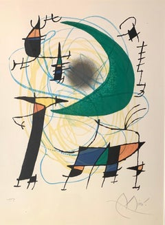 Lune Verte, Lithograph, Abstract. Green Moon