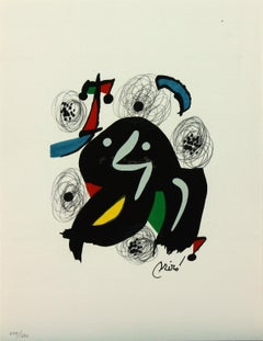 Melodie #4 plate-signed color lithograph from La Mélodie Acide by Joan Miró