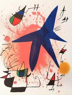 Miró Lithographe I - Plate I - Original Lithograph by J. Mirò - 1972