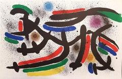 Miró Lithographe I - Plate IX - Original Lithograph by J. Mirò - 1972