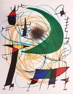 Miró Lithographe I - Plate V - Original Lithograph by J. Mirò - 1972