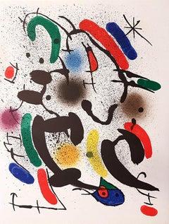 Miró Lithographe I - Plate VI - Original Lithograph by J. Mirò - 1972