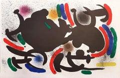 Miró Lithographe I - Plate VII - Original Lithograph by J. Mirò - 1972