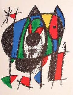 Miró Lithographe II - Plate V - Original Lithograph by J. Mirò - 1975