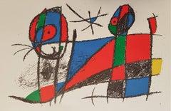 Mirò Lithographe II - Plate VI - Original Lithograph by J. Mirò - 1975