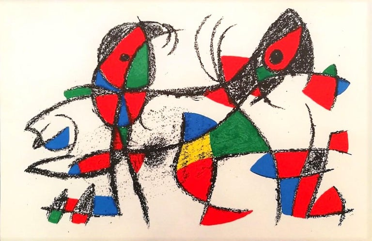 Miró Lithographe II - Plate X is an original artwork realized by Joan Miró in 1975. Lithograph on paper. The hallmark of Graphis Arte, Livorno is present on the back. Mint conditions.  It comes from the set of 11 lithographs realized for the