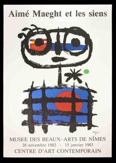 Mirò Poster Exhibition Musée de Beaux Arts - Vintage Offset Print - 1982