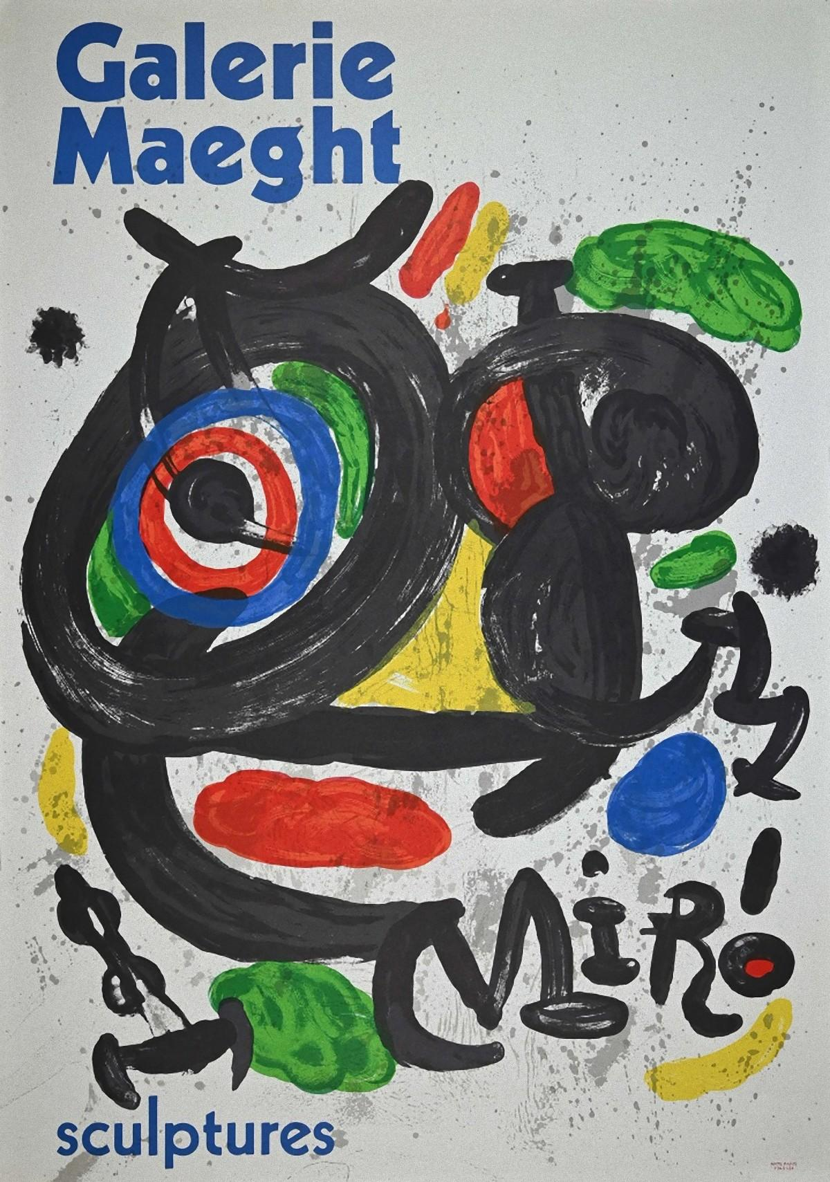 Mirò - Sculptures - Vintage Lithographic Poster Galerie Maeght - 1970s
