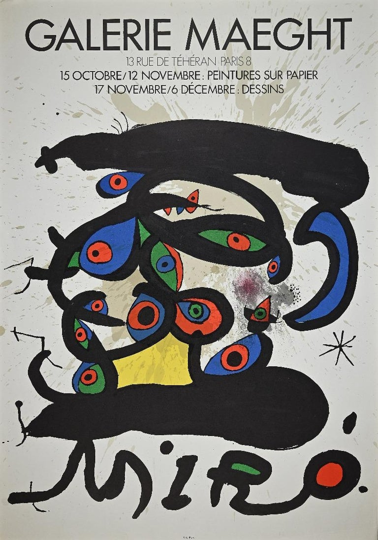 Joan Miró Abstract Print - Mirò - Vintage Exhibition Poster Galerie Maeght - Offset and Lithograph 1970s