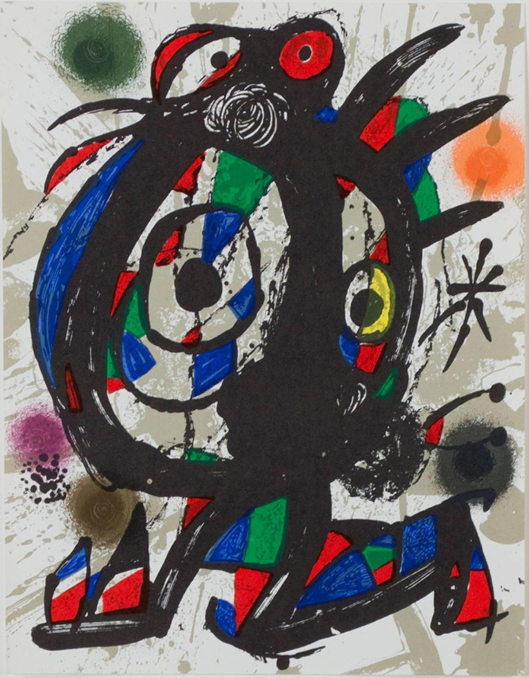"""Original Lithograph I"" is an original color lithograph by Joan Miro, published in ""Miro Lithographs III, Maeght Publisher"" in 1977. It depicts Miro's signature biomorphic abstract style in black, green, yellow, red, and blue.   12 9/16"" x 9 3/4"""