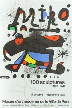 """Original lithograph poster for """"Miro 100 Sculptures 1962-1978"""" 1978 exhibition"""
