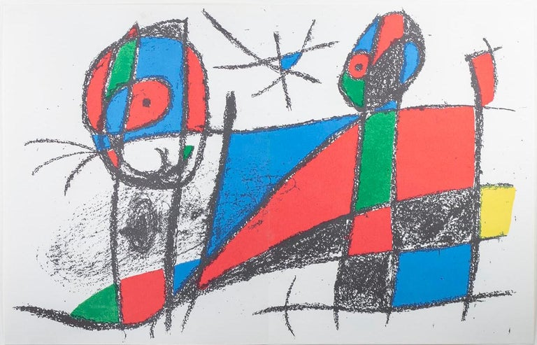 """""""Original Lithograph VI"""" is an original color lithograph by Joan Miro, published in """"Miro Lithographs II, Maeght Publisher"""" in 1975. It depicts Miro's signature biomorphic abstract style in black, green, yellow, red, and blue.   12 9/16"""" x 19 7/16"""""""