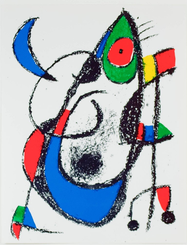 """""""Original Lithograph XI"""" is an original color lithograph by Joan Miro, published in """"Miro Lithographs II, Maeght Publisher"""" in 1975. It depicts Miro's signature biomorphic abstract style in black, green, yellow, red, and blue.   12 9/16"""" x 9 3/4"""""""