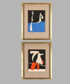 "Original pochoirs: ""Surrealism I & II"", sold as a pair."
