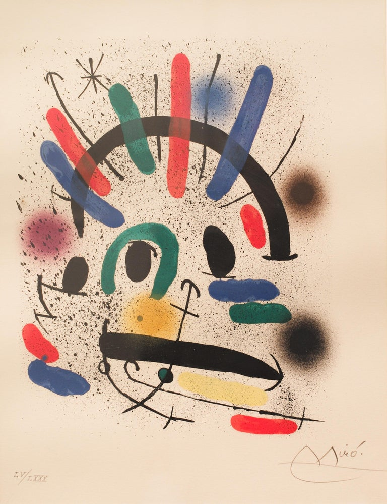 Joan Miró (1893-1983)  lithograph in colours, 1972, on Rives, from Miro Lithographs I, plate IV, from the suite of eleven,  signed and numbered Miró LV/LXXX (55/80) in pencil, in very good condition. S. 450 x 370mm.  Literature: Mourlot, 858.