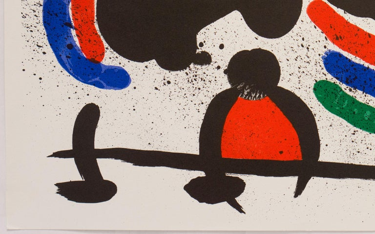 Plate signed 1972 lithograph, Original Lithograph IV, by Spanish artist Joan Miró(1893-1983). Printed by Atelier Mourlot and published in 1972 as one of a series of 14 lithographs created for the