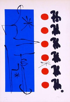 Red and Blue  Rouge et bleu -  Surrelaism Abstract Spanish Art