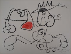 Ubu : King and Two Thinking Men  - Original Handsigned Lithograph - Mourlot 1971