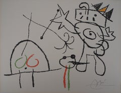 Ubu : King Meeting a Turtle - Original Handsigned Lithograph - Mourlot