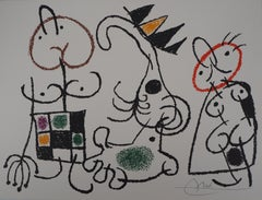 Ubu : King with two Women - Original Handsigned Lithograph - Mourlot