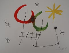 Ubu : Two Moons and Yellow Star - Original Handsigned Lithograph - Mourlot 1971