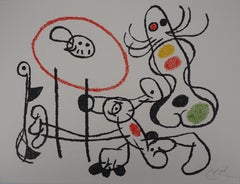 Ubu : Two Surrealist Figures - Original Handsigned Lithograph - Mourlot 1971