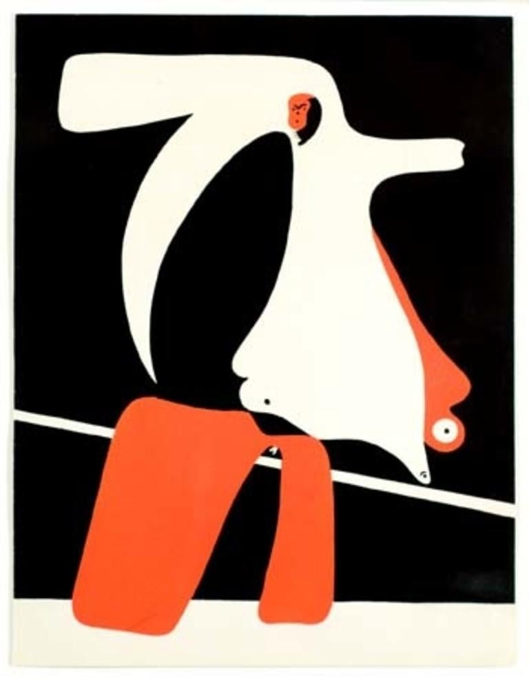 Joan Miró Abstract Print - Untitled from Cahiers d'Art (Red)