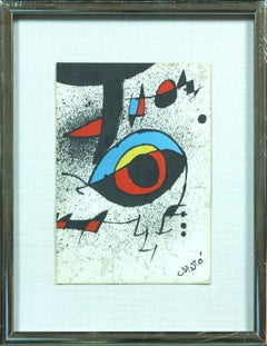 Untitled plate-signed lithograph by Joan Miro.