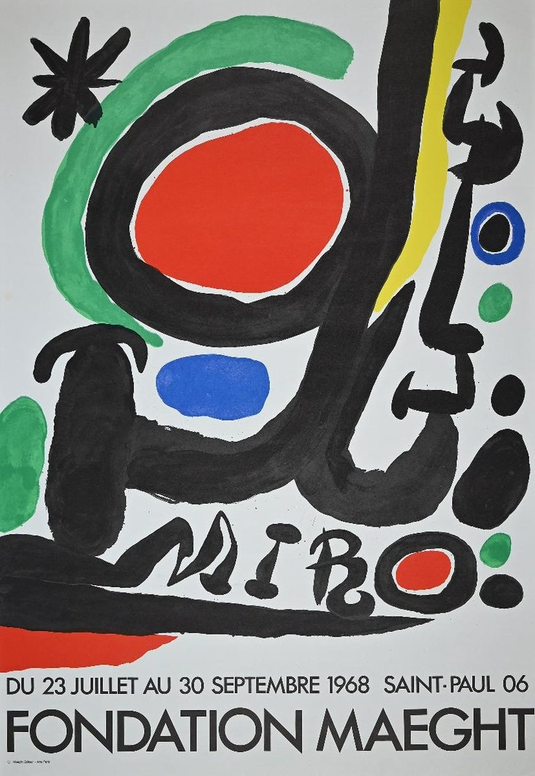 Joan Miró Abstract Print - Vintage Exhibition Poster at Galerie Maeght - Offset and Lithograph - 1968
