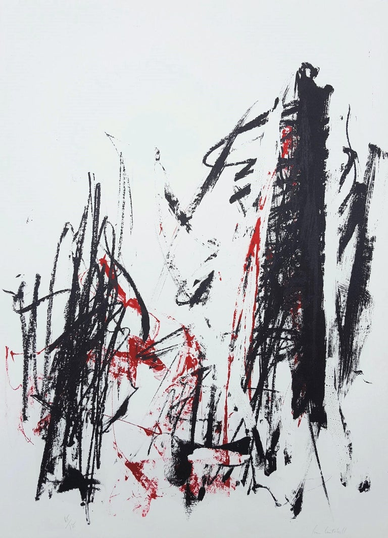 Joan Mitchell Abstract Print - Arbres (Black and Red)