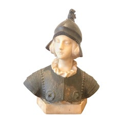 Joan of Arc Alabaster Bust, 19th Century