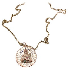 Joan of Arc Medal Gold Plated Necklace Ruby Emerald Blue Sapphire J DAUPHIN