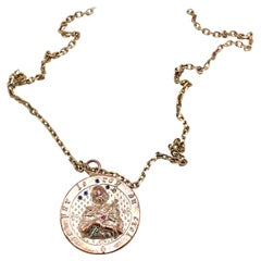Joan of Arc Medal Necklace Ruby Emerald Blue Sapphire J DAUPHIN