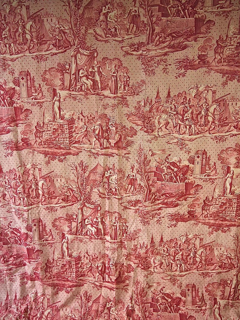 Rare toile 'La Vie de Jeanne d' Arc' from Bolbec in Northern France with various scenes from the life of Joan of Arc printed in a lovely red on a stippled ground with scattered stars.