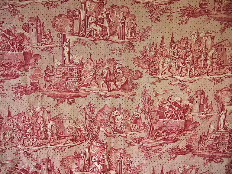 French Provincial Joan of Arc Red Cotton Toile de Jouy Panel, French, 19th Century For Sale