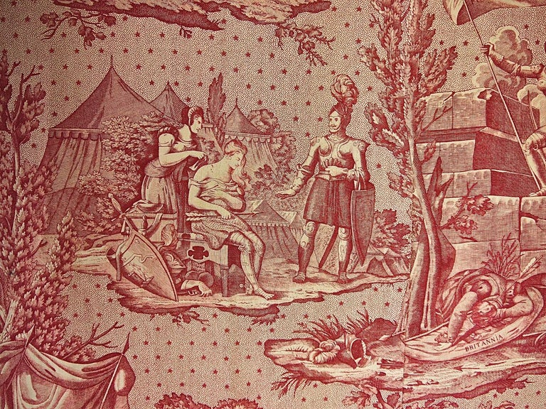 Joan of Arc Red Cotton Toile de Jouy Panel, French, 19th Century In Good Condition For Sale In London, GB