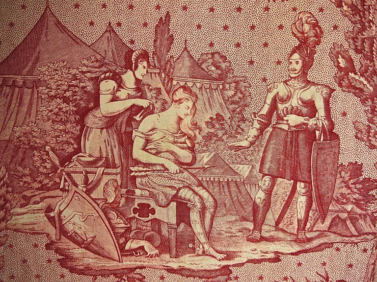 Joan of Arc Red Cotton Toile de Jouy Panel, French, 19th Century For Sale 1