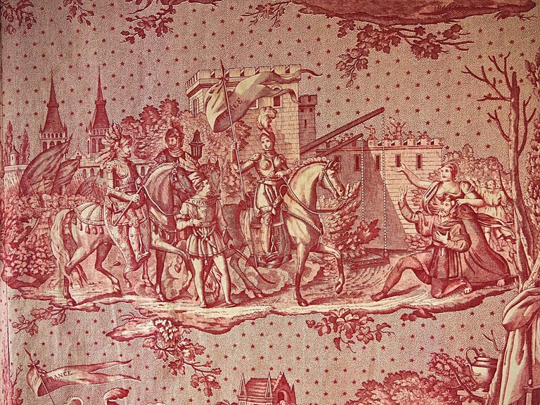 Joan of Arc Red Cotton Toile de Jouy Panel, French, 19th Century For Sale 2
