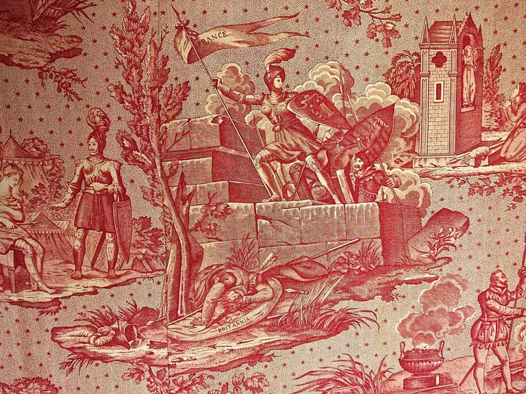Joan of Arc Red Cotton Toile de Jouy Panel, French, 19th Century For Sale 3