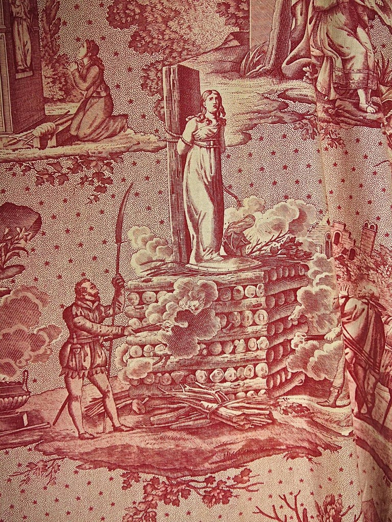 Joan of Arc Red Cotton Toile de Jouy Panel, French, 19th Century For Sale 4