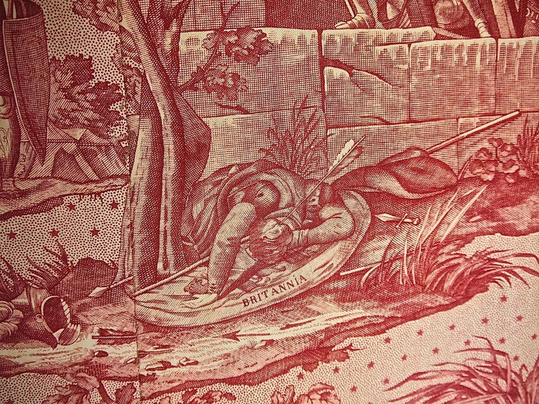 Joan of Arc Red Cotton Toile de Jouy Panel, French, 19th Century For Sale 5