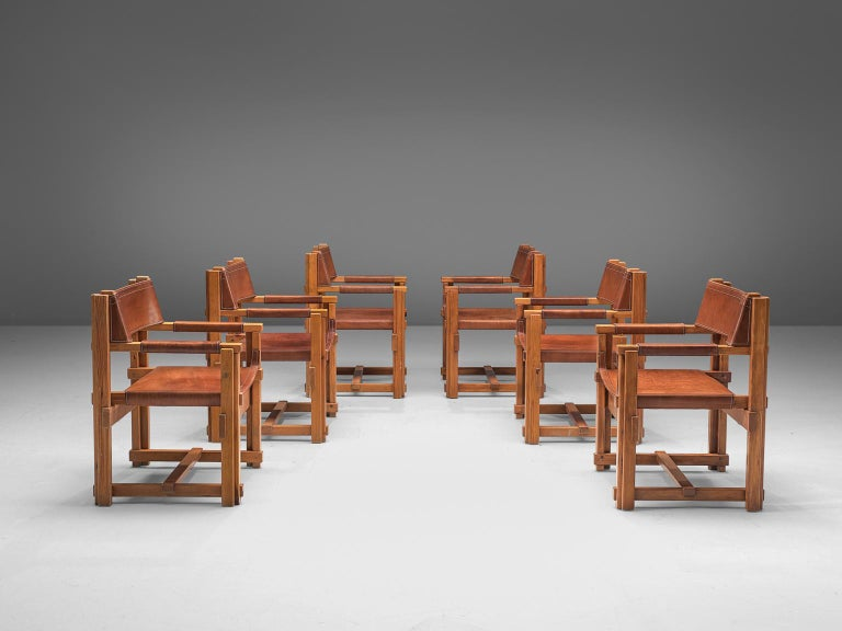 Joan Pou, set of 6 armchairs, pine and leather, Spain, 1960s.