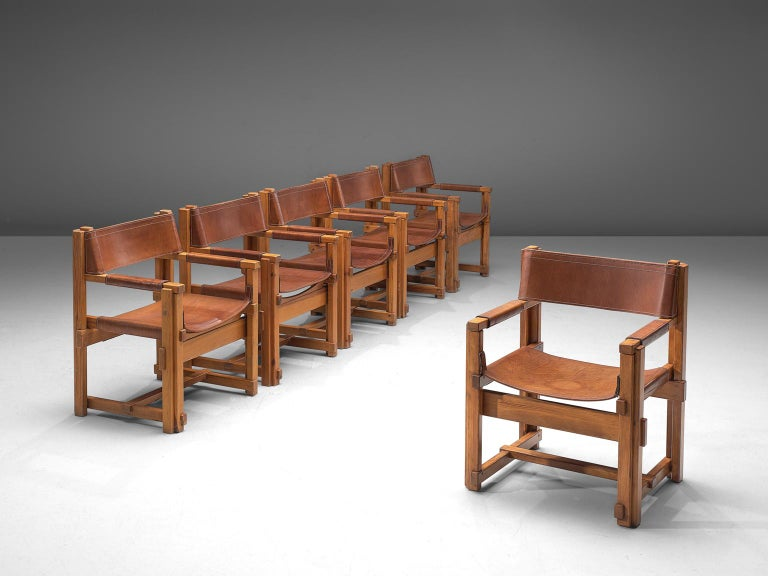 Mid-Century Modern Joan Pou Set of Six Rationalist Armchairs in Pine and Cognac Leather For Sale